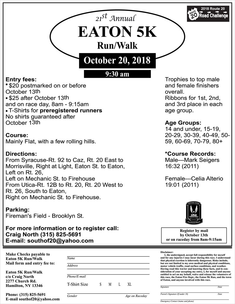21st Annual Eaton 5K Run/Walk