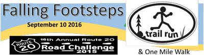 Falling Footsteps Cross Country (mini-mudder) 5K Run, 1 mile Walk